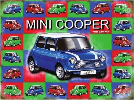 SALE PRICE..Mini Cooper - Blue - Metal Wall Sign (Large)
